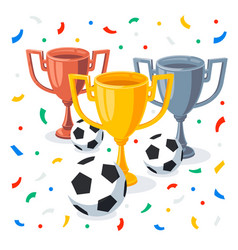gold silver and bronze trophy cup in flat cartoon vector image