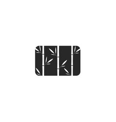 Grass bamboo logo rectangle shape black and white vector