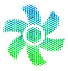 halftone blue-green rotor icon vector image