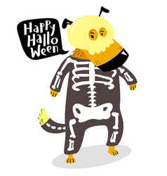 Halloween dog character in skeleton costume with vector