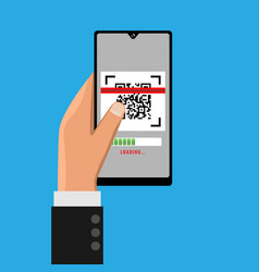 Hand holding smartphone and scanning qr code vector