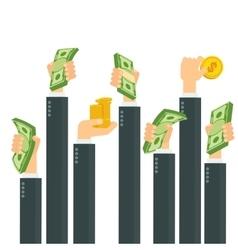 Hands holding money vector