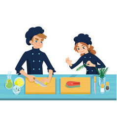Happy young cooks boy slicing lemon and girl vector