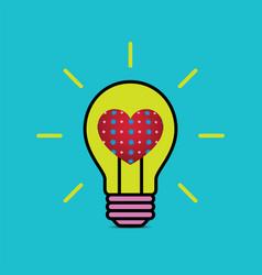 Heart love light bulb flat design icon vector