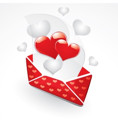 Hearts and love letter vector