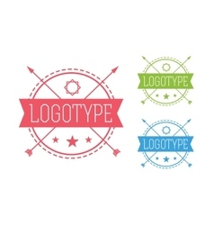 Hipster modern circle thin style logo vector