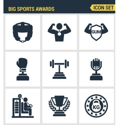 Icons set premium quality of big sports awards vector