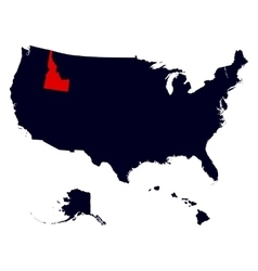 Idaho State in the United States map vector image