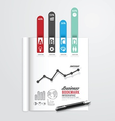 infographic book open with bookmark arrow vector image
