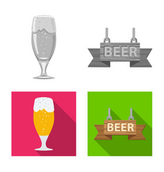 isolated object of pub and bar logo set of pub vector image