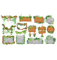 Jungle wooden and stone signs tropical game ui vector