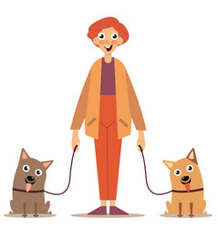 Man with dogs on a leash vector