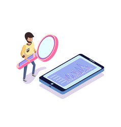 Man with magnifier looking at phone chart vector