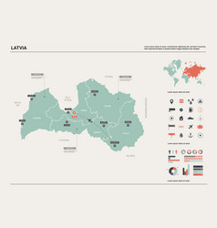Map latvia high detailed country vector