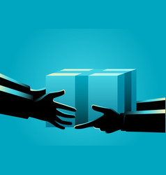 men hand delivering and receiving package vector image