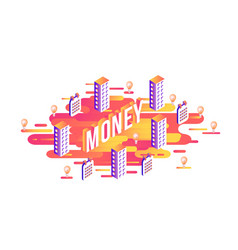 money word design - isometric letters and business vector image