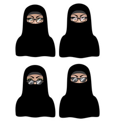 muslim woman in black hijab vector image