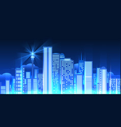 Night city lights panorama vector