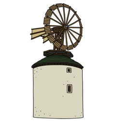 old white stone windmill vector image