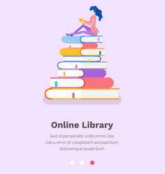 Online educational library studying science vector