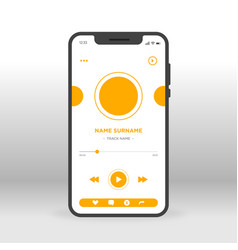 orange movie player ui ux gui screen for mobile vector image