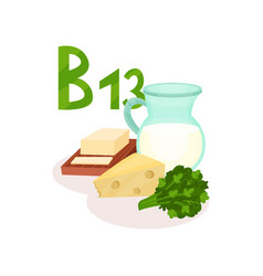 organic products with vitamin b13 orotic acid vector image