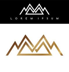Overlapped line mountains symbol golden vector