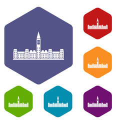 Parliament building of canada icons set hexagon vector
