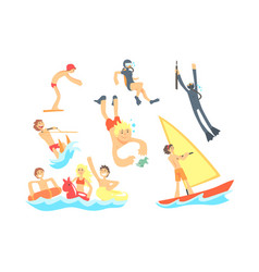 people on summer vacation at the sea playing and vector image