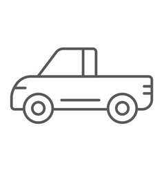pickup thin line icon van and auto car sign vector image