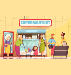 queue people supermarket vector image