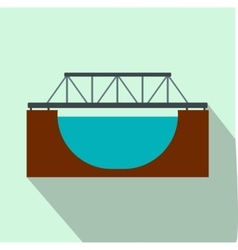 Rail bridge flat icon vector