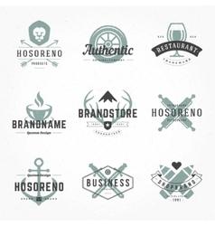 Retro Hand Drawn Logos Templates Set vector image