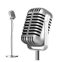 retro metal microphone with stand chrome vector image