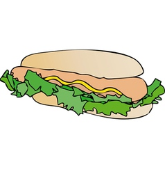 Sandwich with sausage and mayonnaise vector image