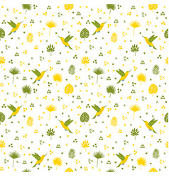 Seamless pattern with hummingbird and leaves cute vector