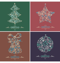 Set of decorative Christmas elements vector