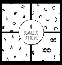 set with 4 simple minimalistic seamless pattern vector image