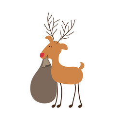 silhouette caricature color of reindeer with vector image