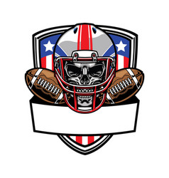 Skull wearing american football helmet vector