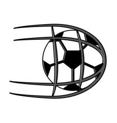 soccer ball in net shoot sport vector image