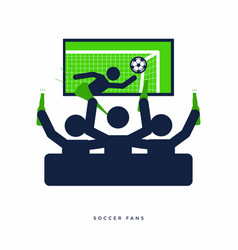 soccer fans with beer bottle watching live on tv vector image
