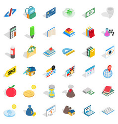 Studying chemistry icons set isometric style vector