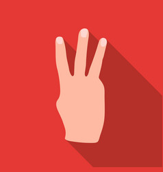 Three fingers icon in flat style isolated on white vector