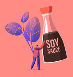 Tiny male character holding huge soy bean sauce in vector