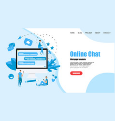 web template with messenger online chat concept vector image
