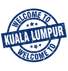 Welcome to kuala lumpur blue stamp vector