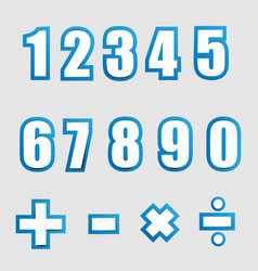 white paper graphic alphabet numbers on blue vector image