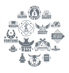 wild west logo icons set simple style vector image