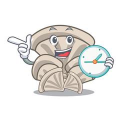 With clock oyster mushroom character cartoon vector
